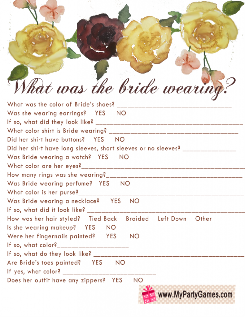 Free Printable What was the Bride Wearing? Game