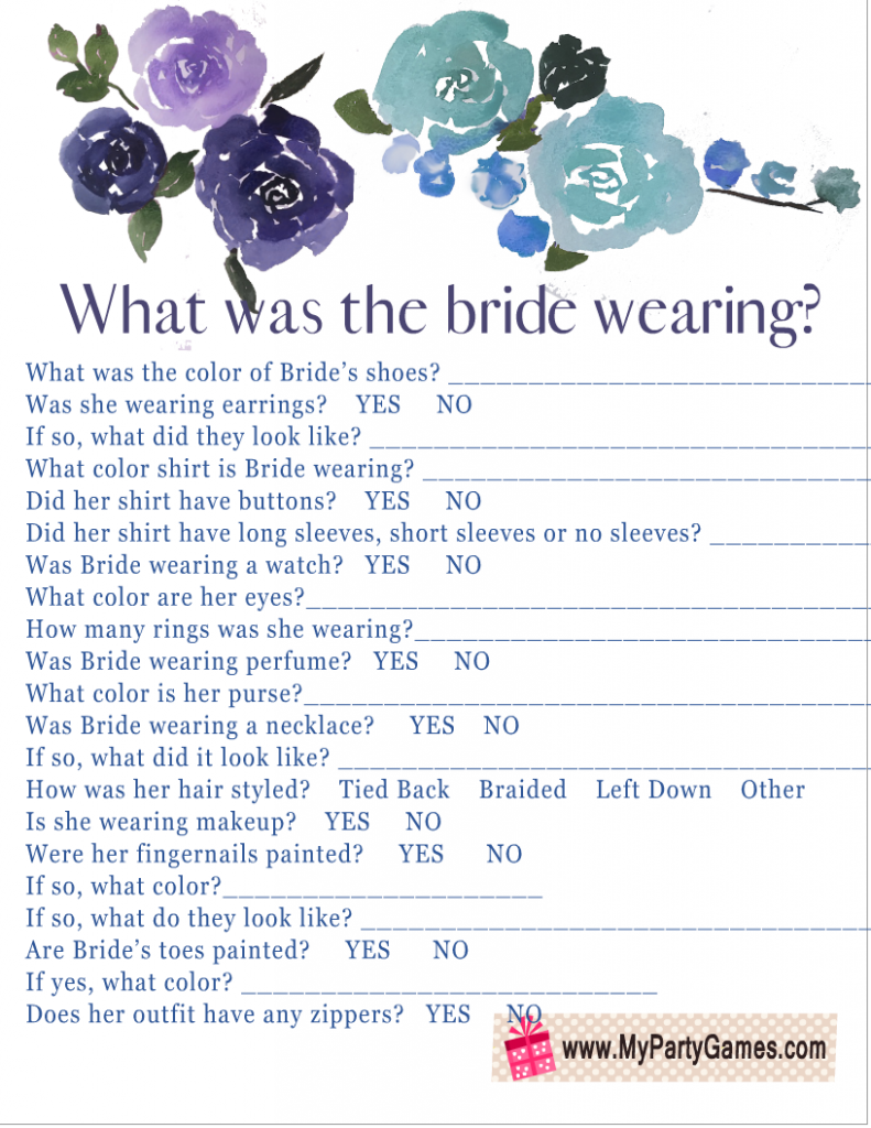 What was the Bride Wearing? Game