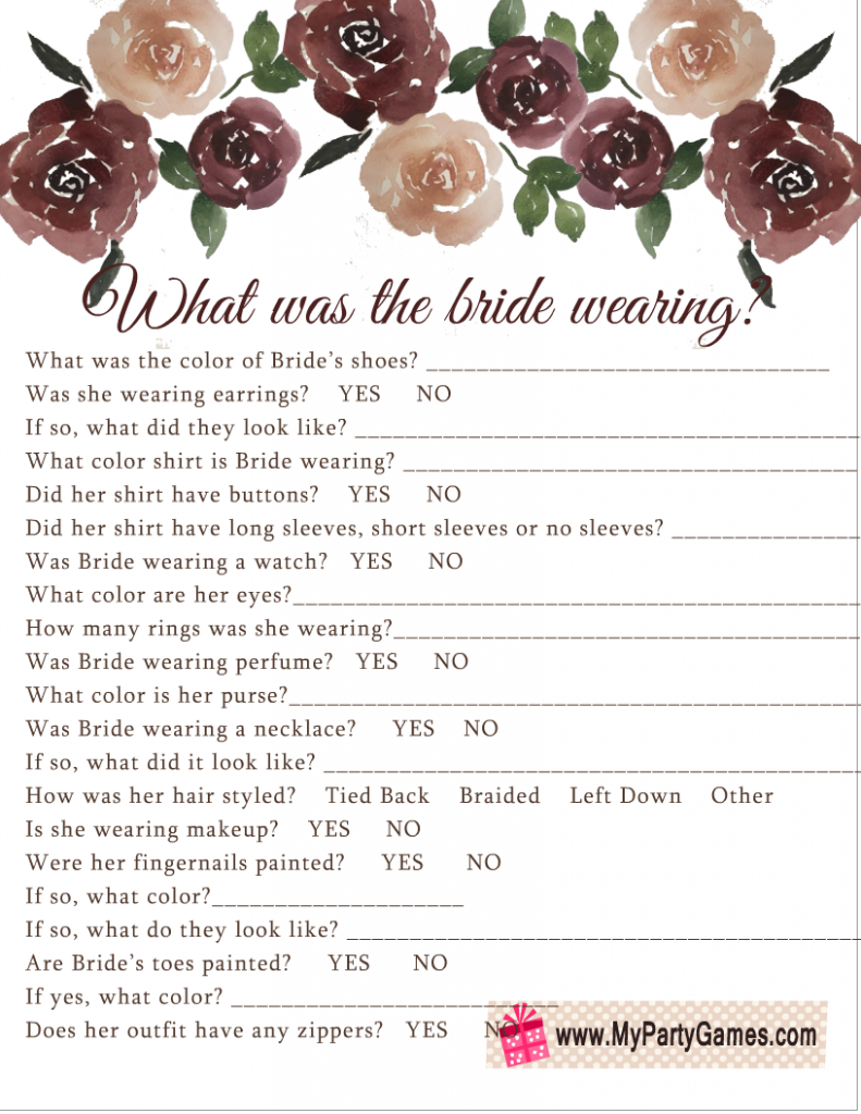 What was the Bride Wearing? Free Printable Game