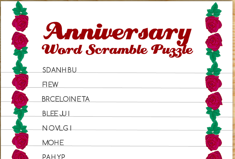 Free Printable Anniversary Word Scramble Puzzle