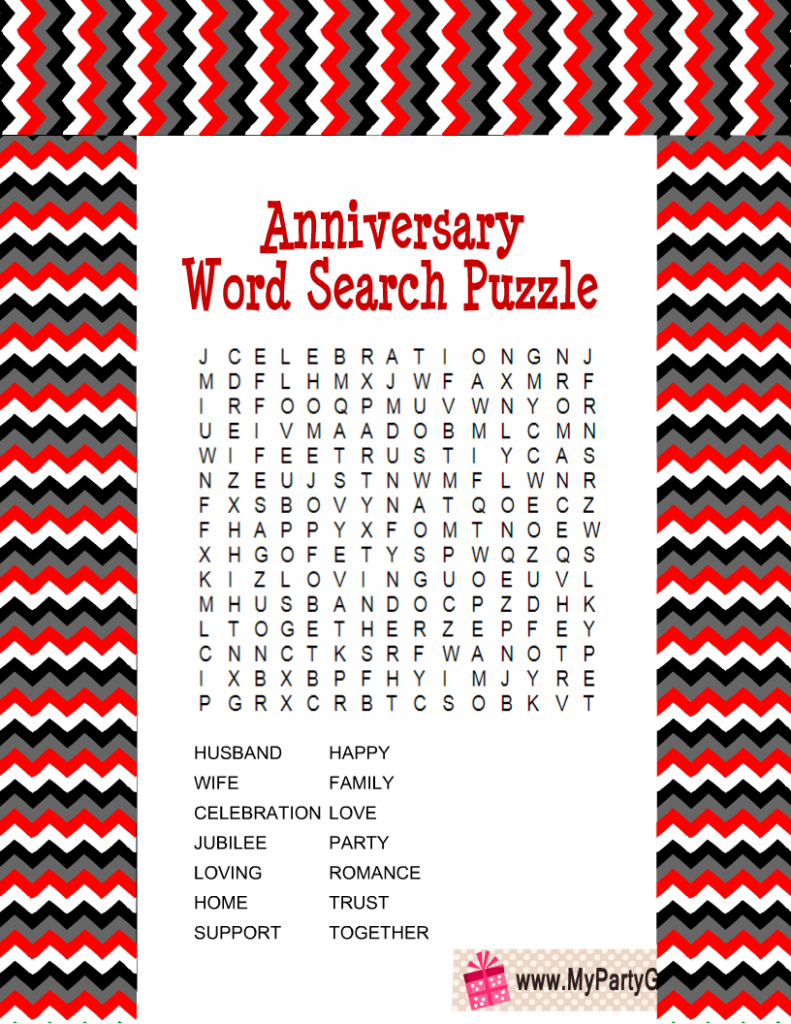 Anniversary Word Search Puzzle