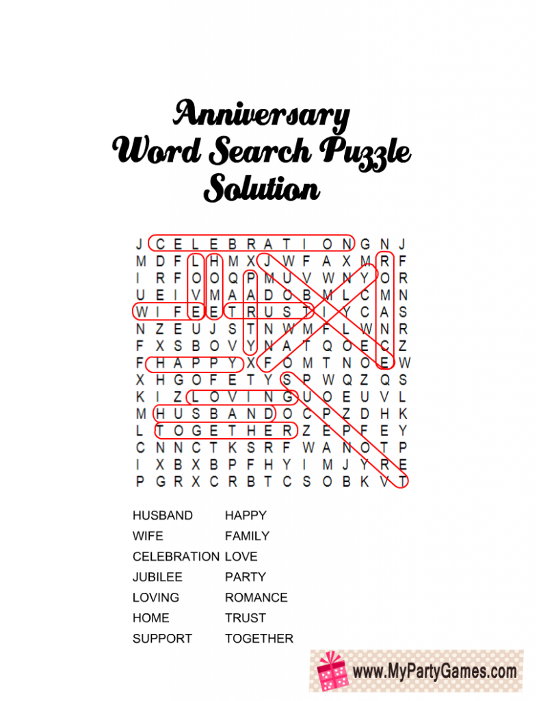Anniversary Word Search Puzzle Solution