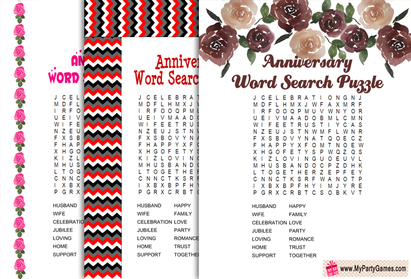 Free Printable Anniversary Word Search Puzzle