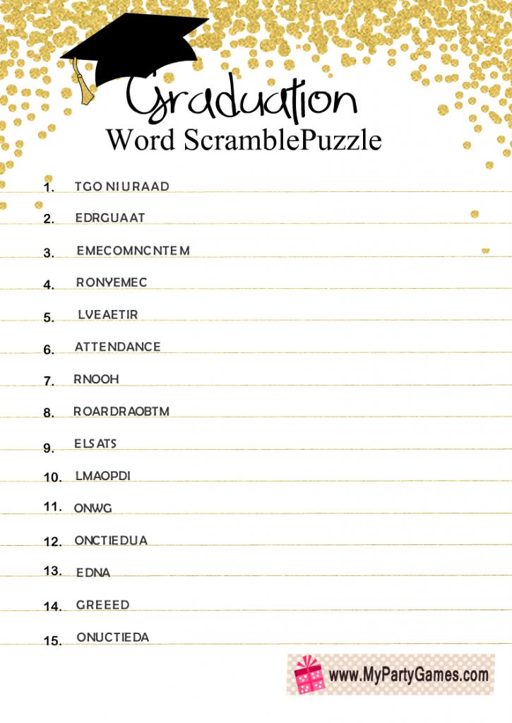 Graduation Word Scramble Puzzle