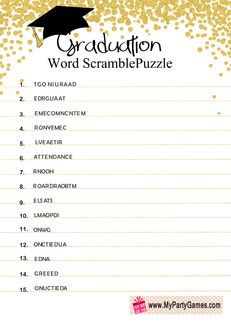 Free Printable Graduation Word Scramble Puzzle My Party Games