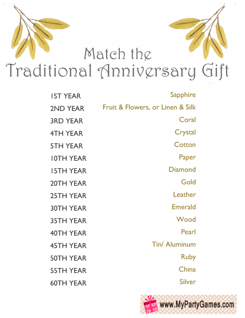 Free Printable Traditional Anniversary Gift Matching Game