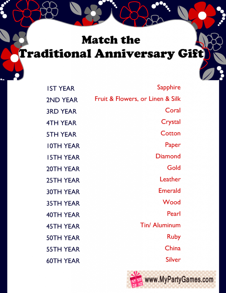 Match the Traditional Anniversary Gift, Free Printable