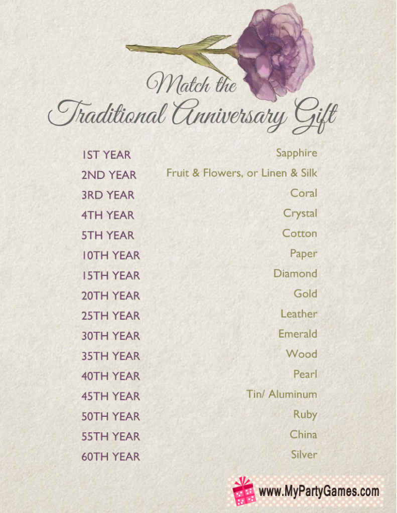 Match the Traditional Anniversary Gift, Free Printable Game