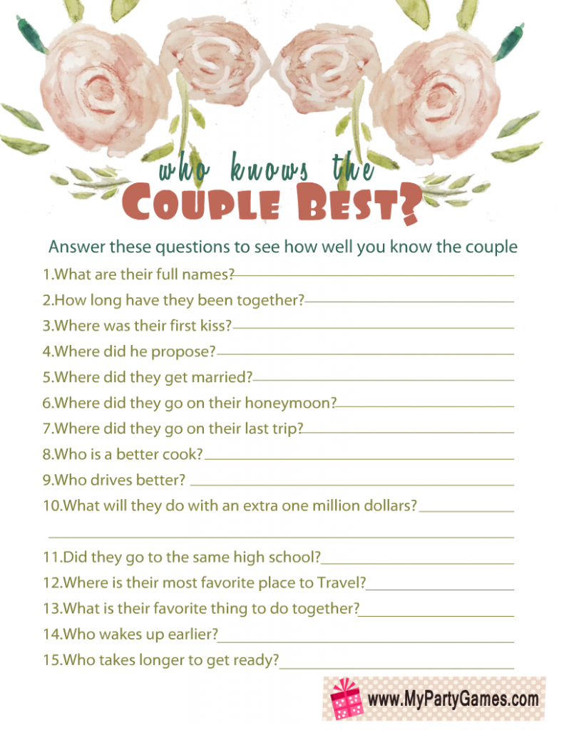 Who Knows the Couple Best? Anniversary Game