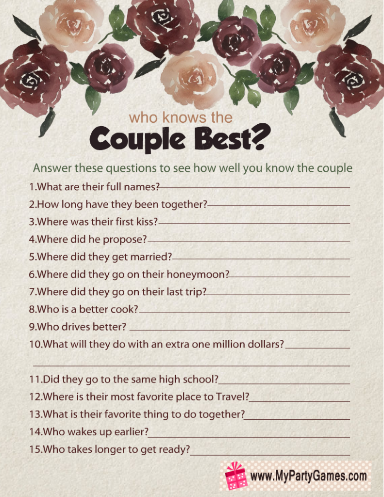 Free Printable Who Knows the Couple Best?
