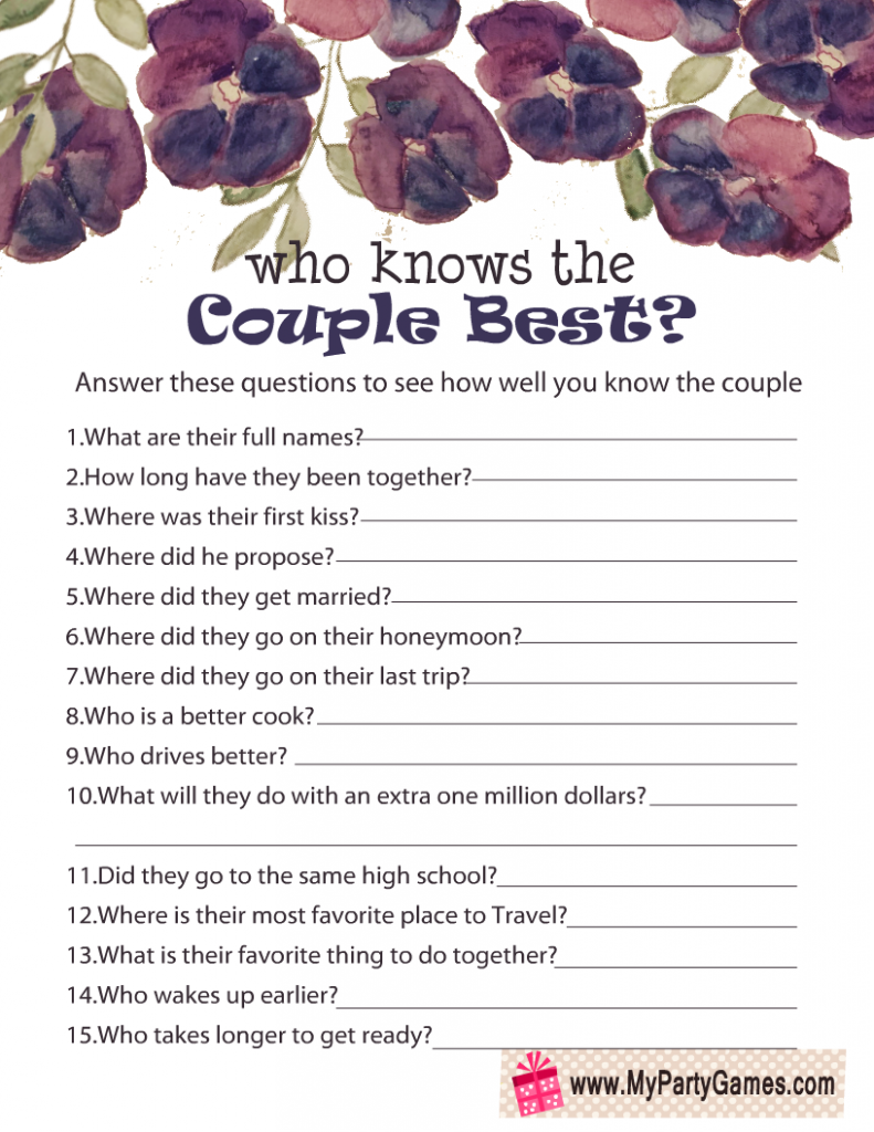 Who Knows the Couple Best? Free Printable Anniversary Game