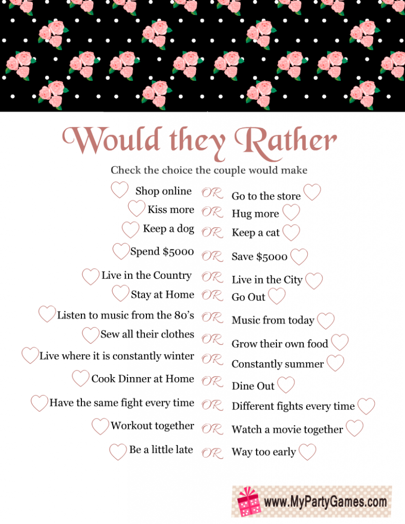 Would they Rather? Free Printable