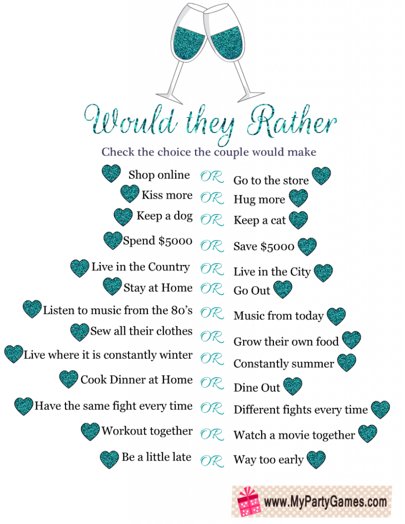 Would they Rather? Free Printable Anniversary Party Game