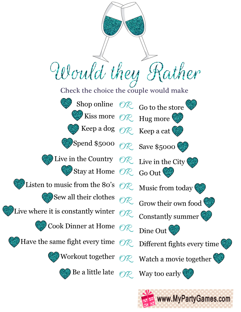 Would They Rather Free Printable Anniversary Party Game My Party Games