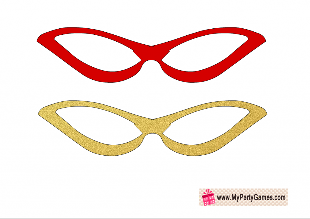 Red and gold funky glasses photo booth props