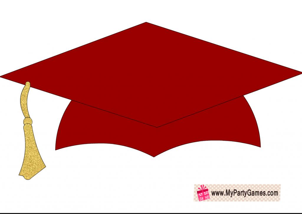 Free Printable Graduation Cap Photobooth prop in maroon color