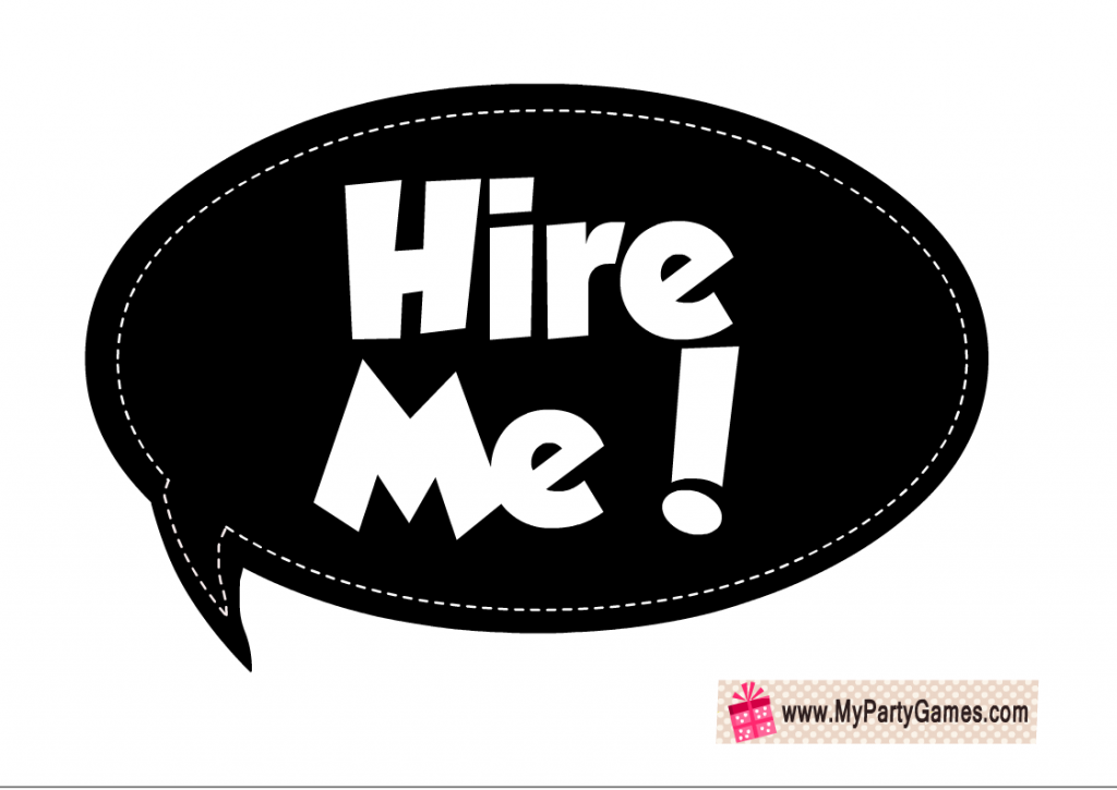 Hire me Photo Booth Prop Printable