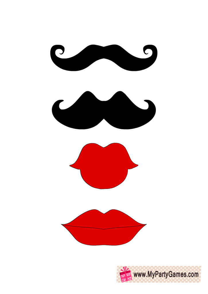 Moustaches and Lips Photo Booth Props Printable
