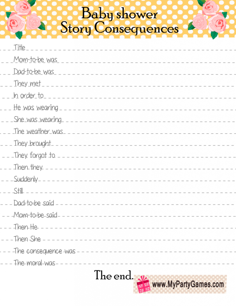 Baby Shower Story Consequences Game in Yellow Color