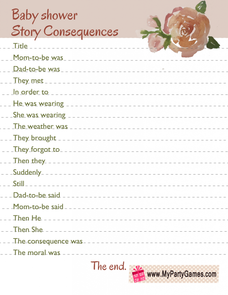 Free Printable Baby Shower Story Consequences Game