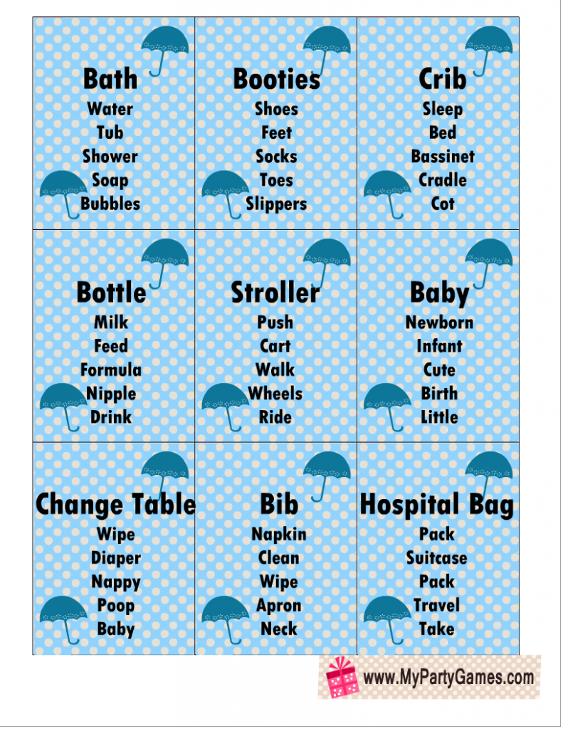Baby Shower Taboo Game Cards in Blue Color