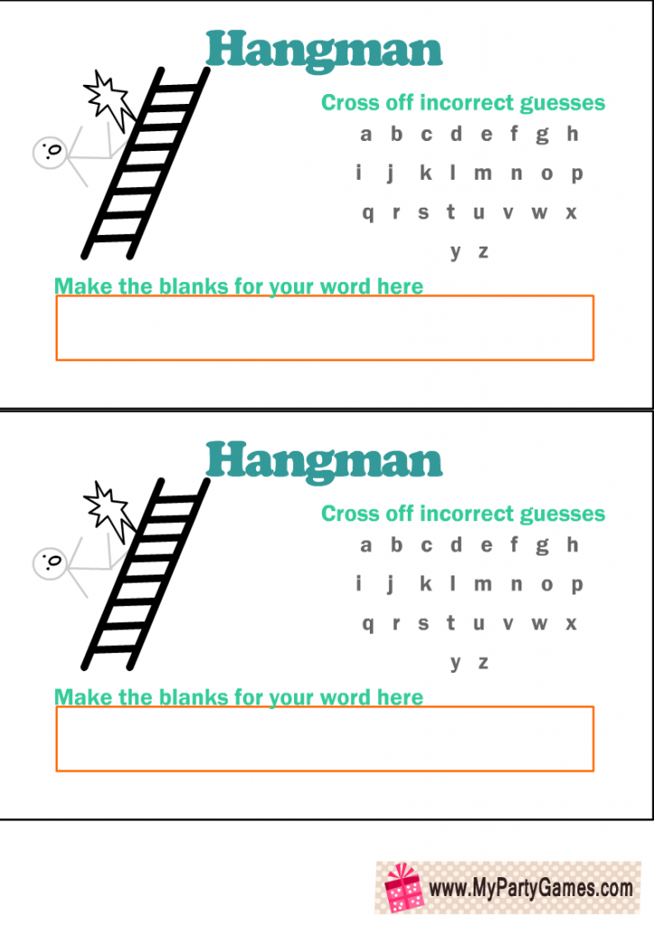Free Printable Hangman Game Template with Man Falling from Ladder