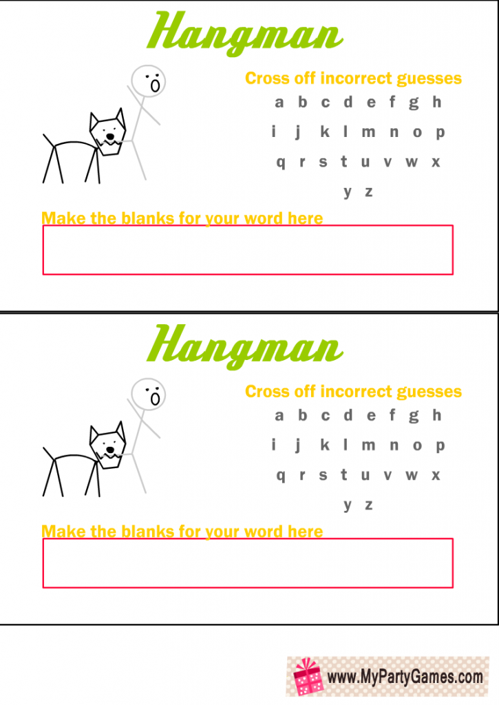 Hangman Game Printable with Man bitten by A dog