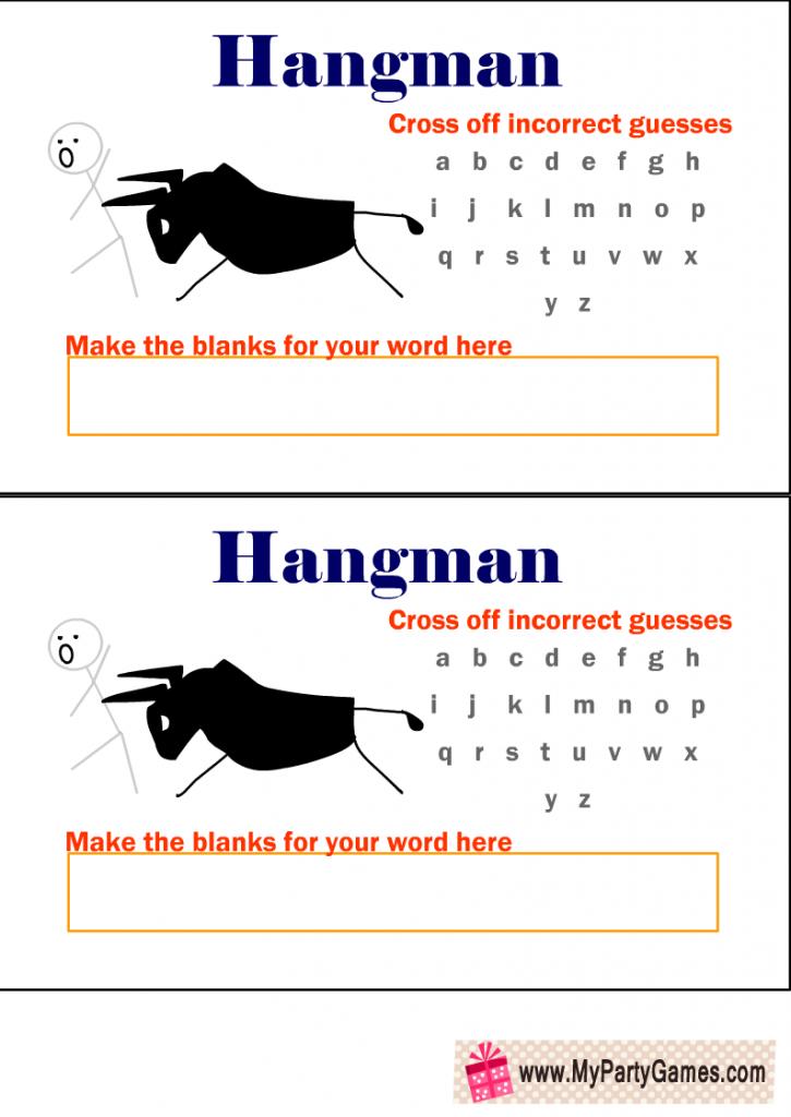 Free Printable Hangman Game with Man and a Bull