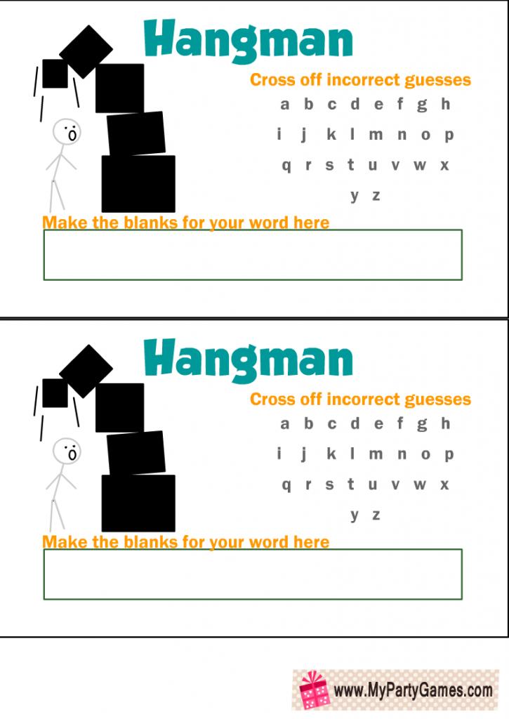Free Printable Hangman Game with Falling Boxes