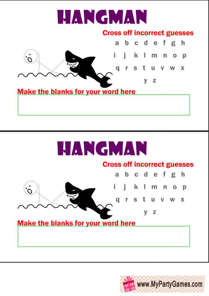 Hangman Game Free Printable with Man and a Shark