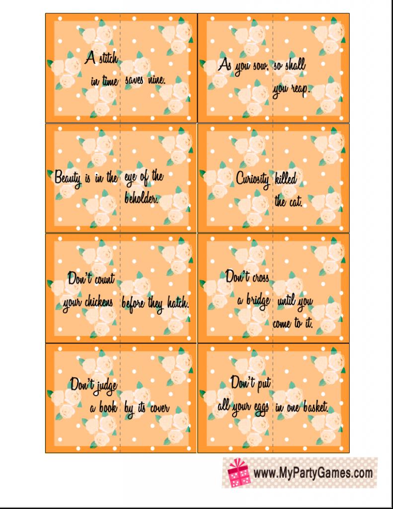 Split Proverbs Ice-breaker Game Cards in Orange Color