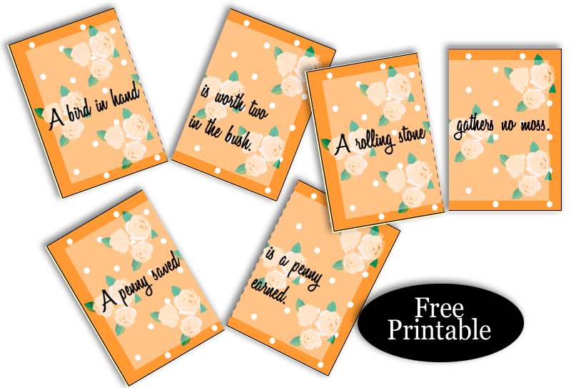 Free Printable Split Proverbs Ice-breaker Game