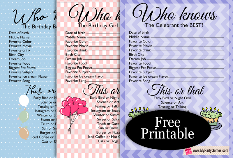 Who knows the Birthday Boy, Girl the Best? Free Printable