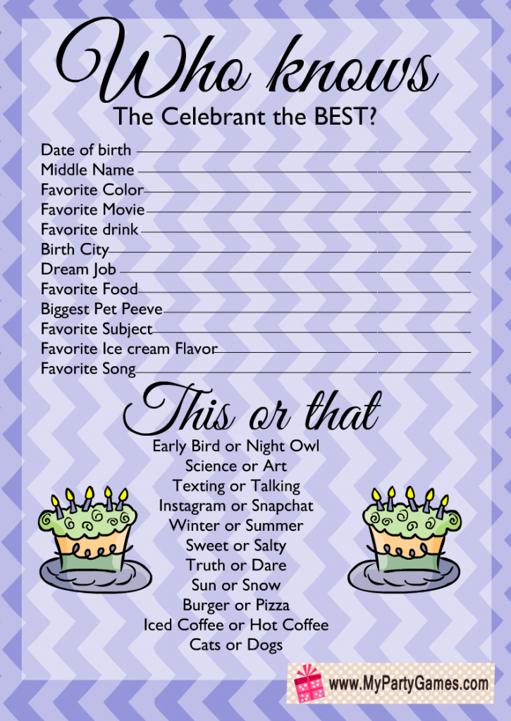 Free Printable Who knows the Celebrant the Best?