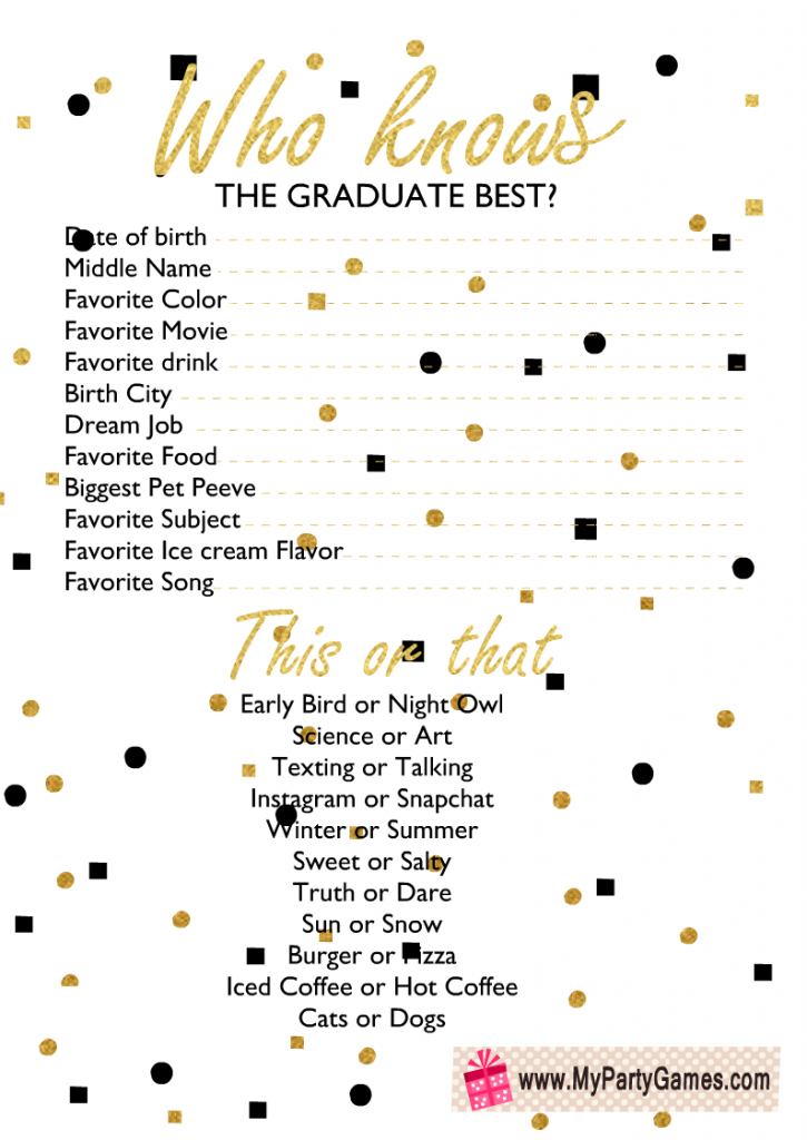 Who Knows the Graduate Best? Game Printable