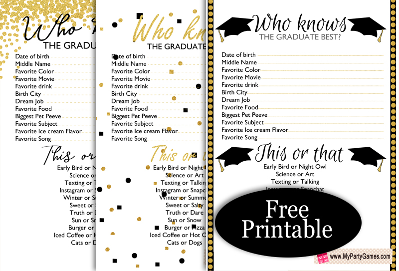 Free Printable Who Knows the Graduate Best? Game