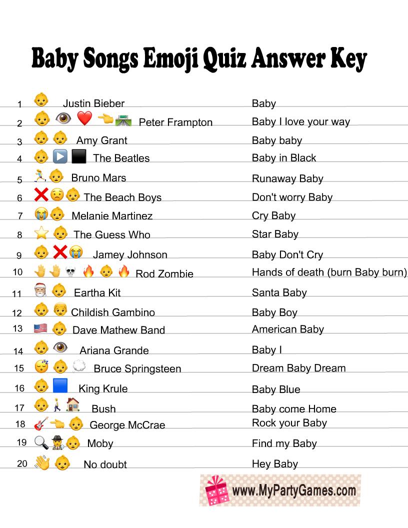 Baby Songs Emoji Quiz Answer Key