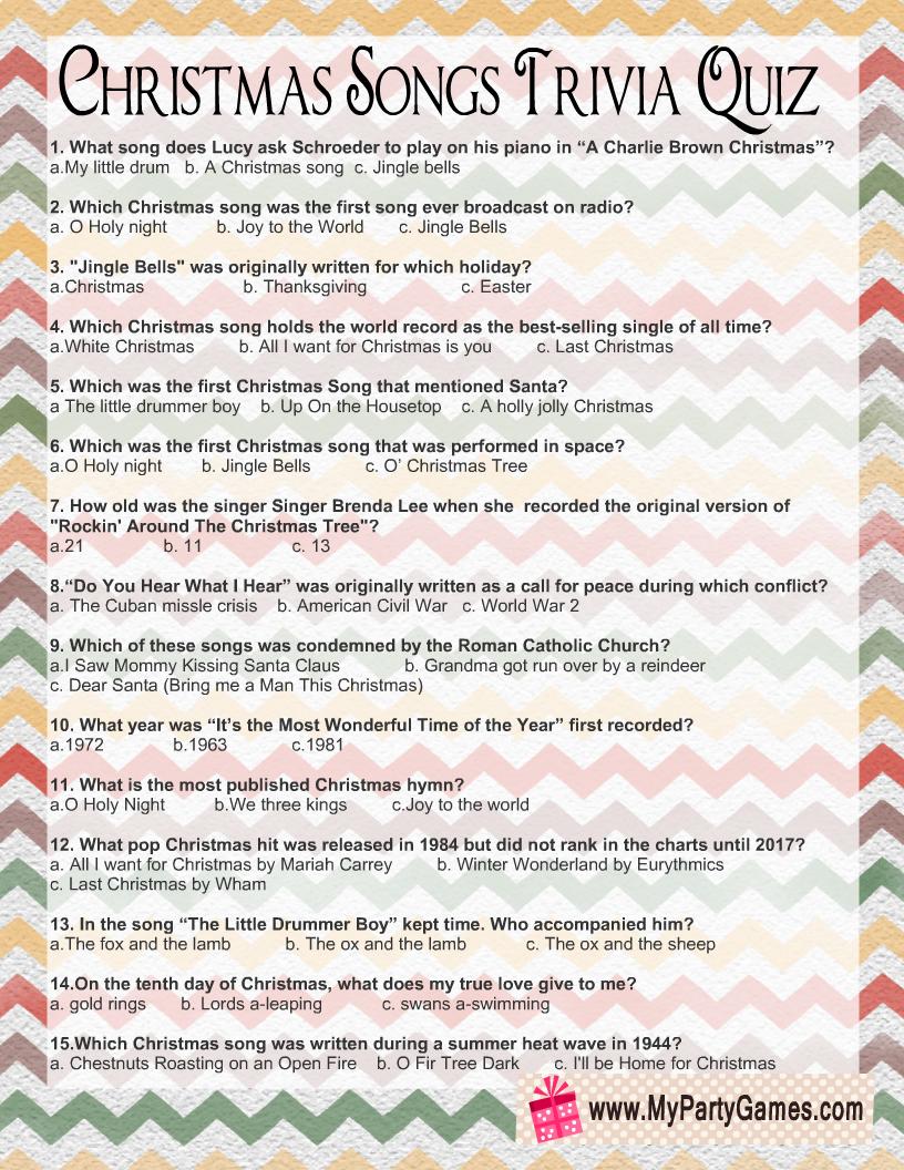 Christmas Songs Trivia Quiz Free Printable