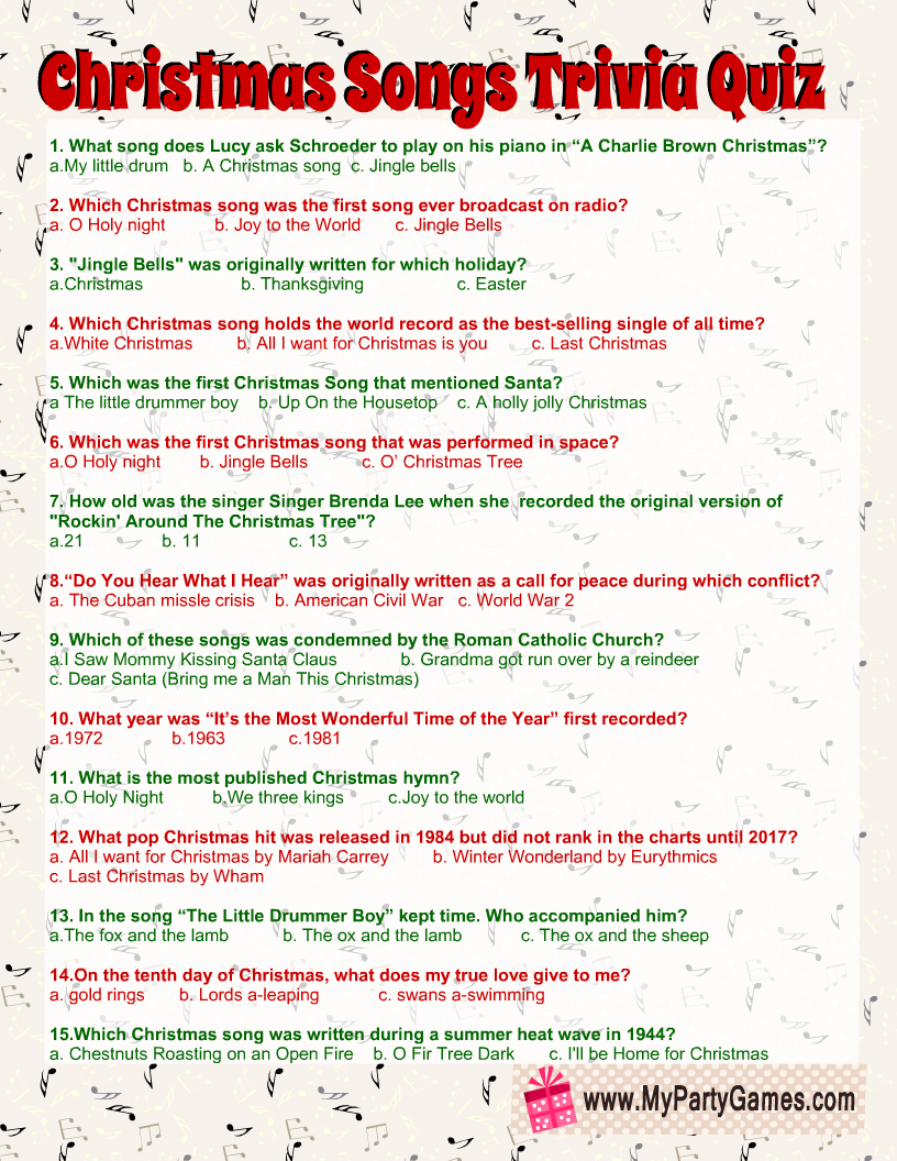 Free Printable Christmas Songs Trivia Quiz