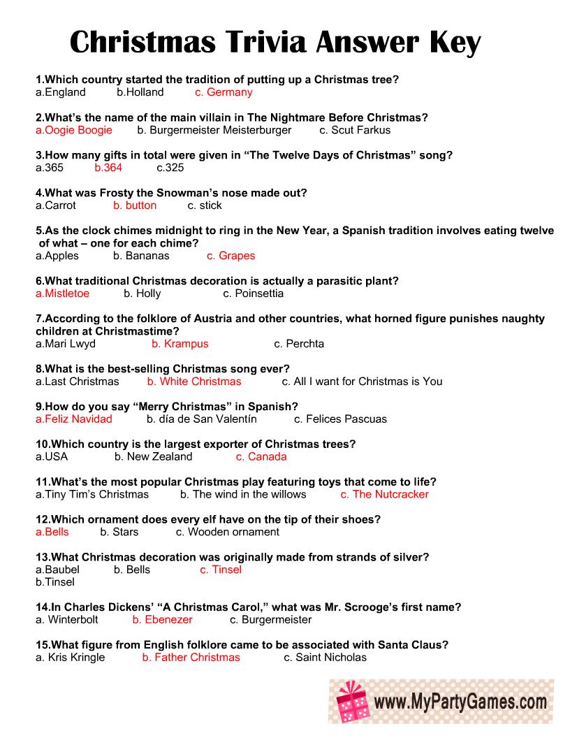 Christmas Trivia Quiz Answer Key
