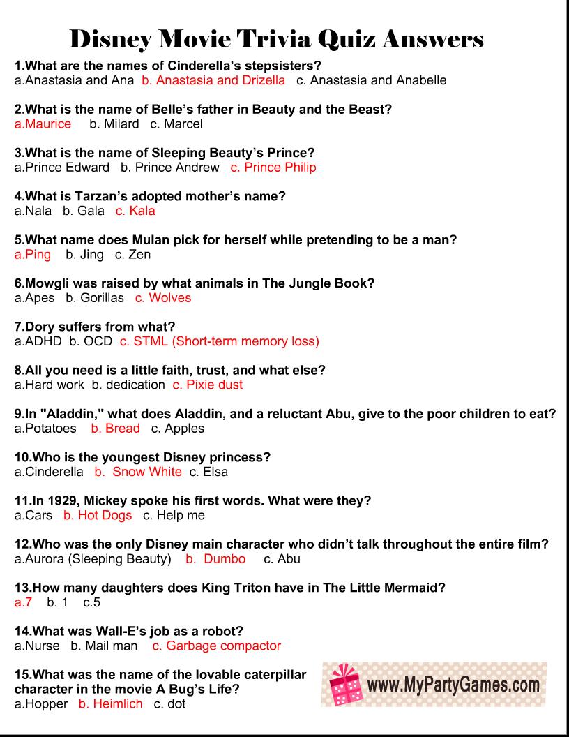 Disney Movie Trivia Quiz Answer Key