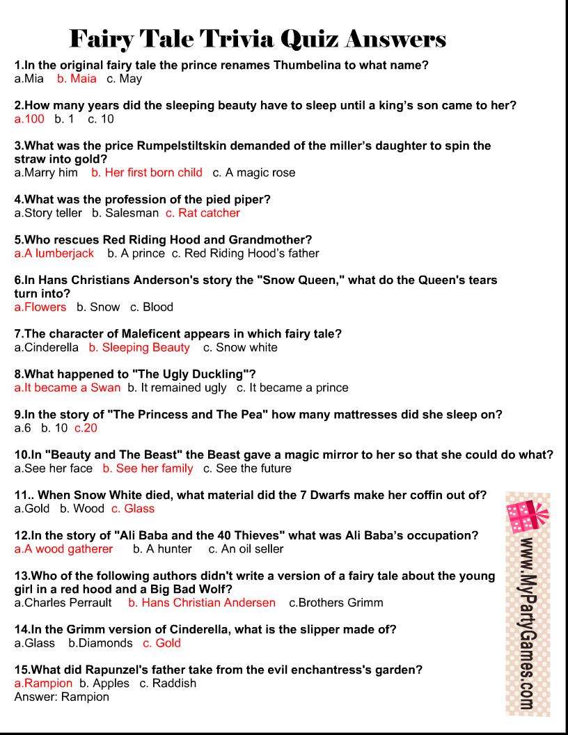 Fairy Tale Trivia Quiz Answer Key