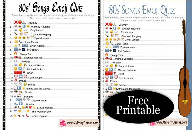 Free Printable 80s' Songs Emoji Quiz