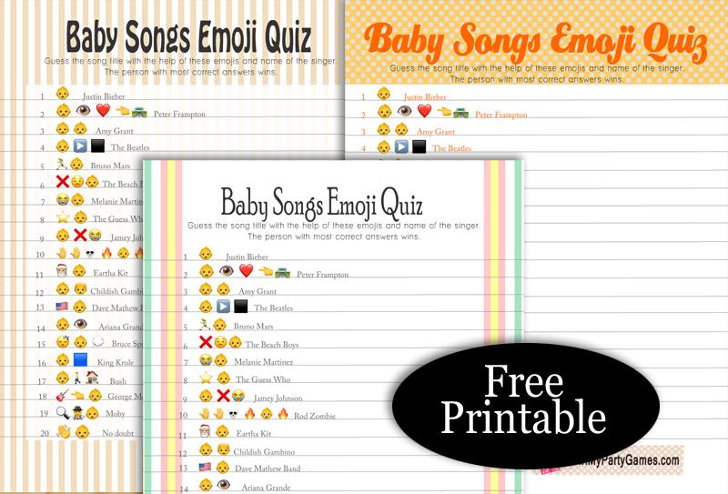 Free Printable Baby Songs Emoji Quiz
