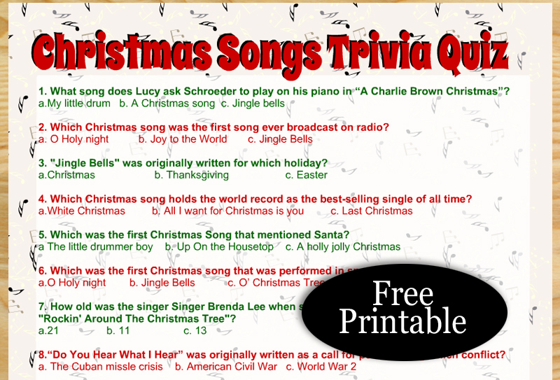 Free Printable Christmas Songs Trivia Quiz