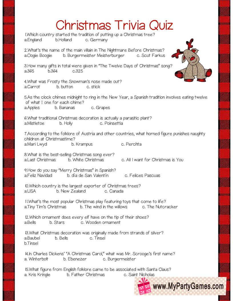 Christmas Trivia Quiz Questions Printable