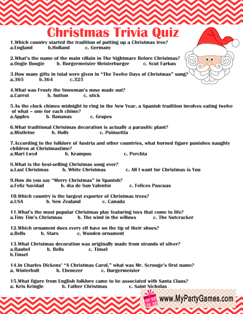 Free Printable Christmas Trivia Quiz