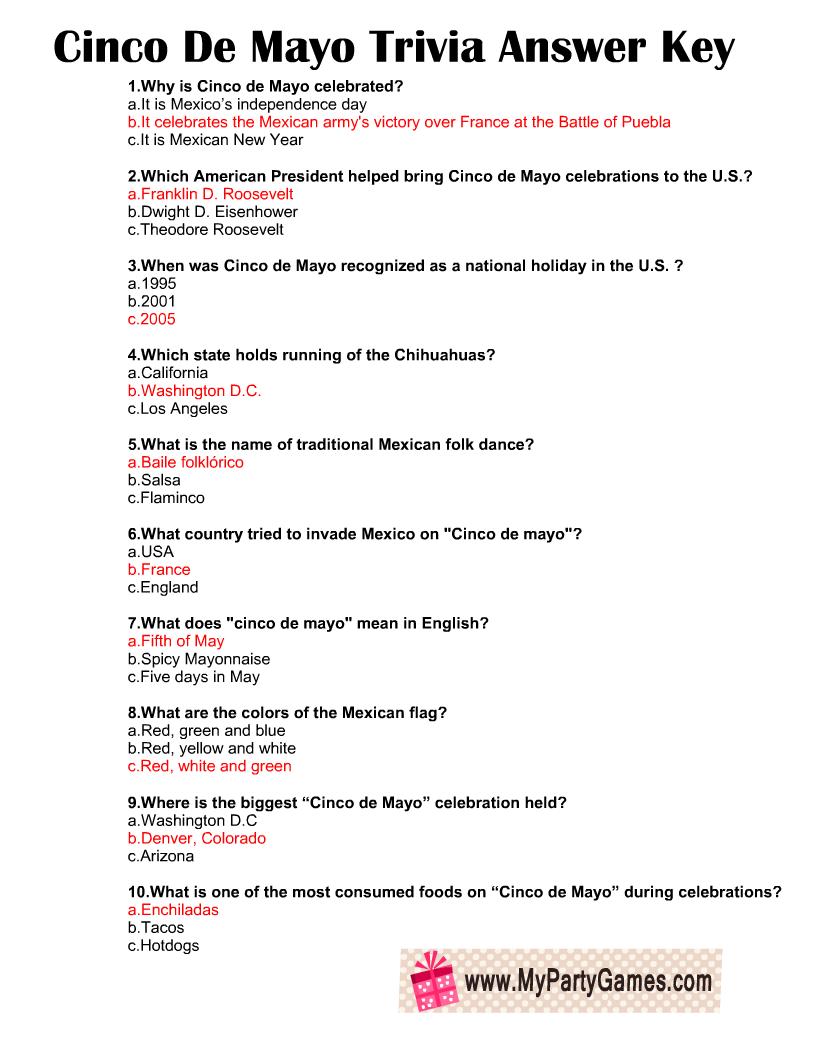 Cinco de Mayo Trivia Quiz Answer Key