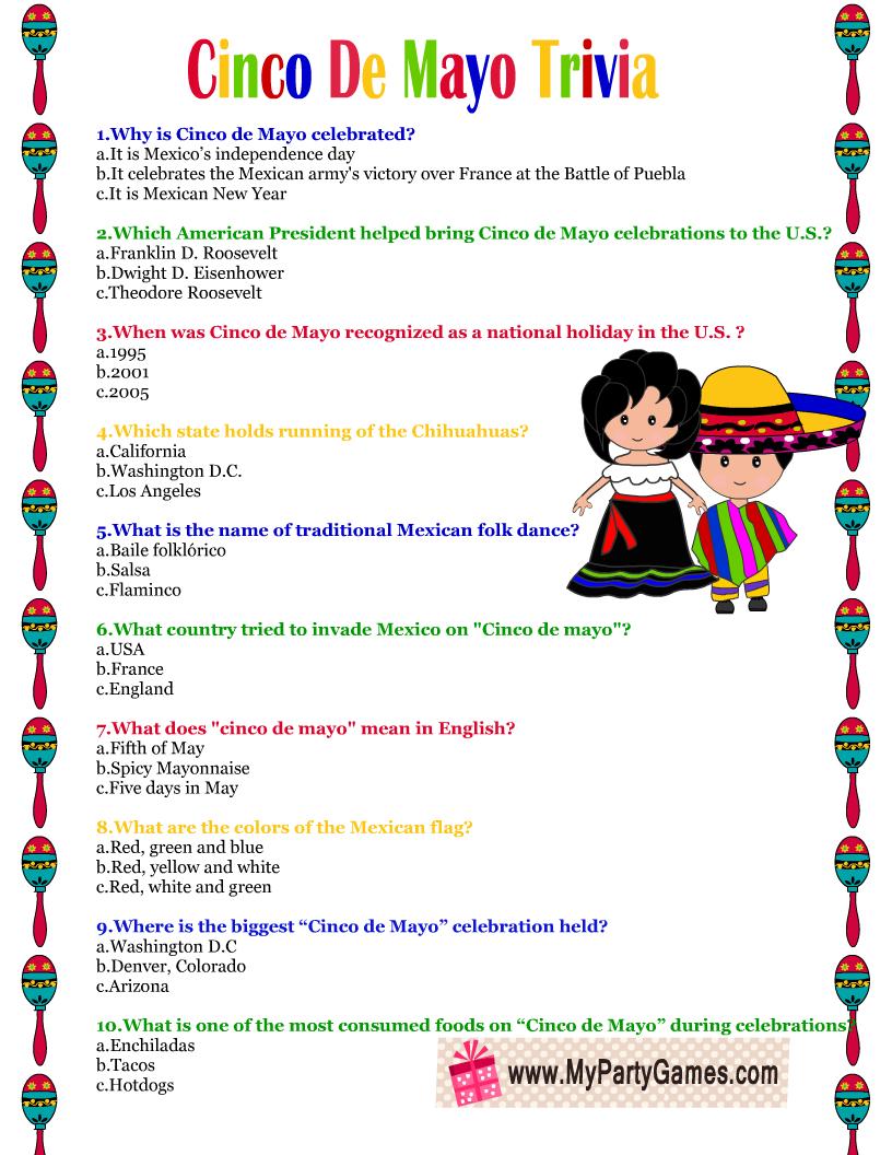 Free Printable Cinco de Mayo Trivia Quiz