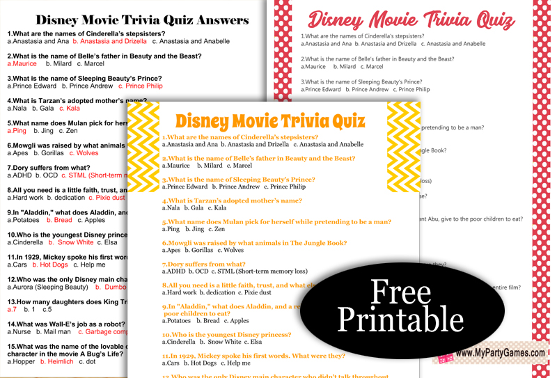 Free Printable Disney Movie Trivia Quiz